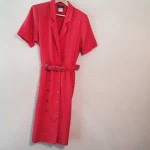 Vintage 1960s union made midi dress coral red 12